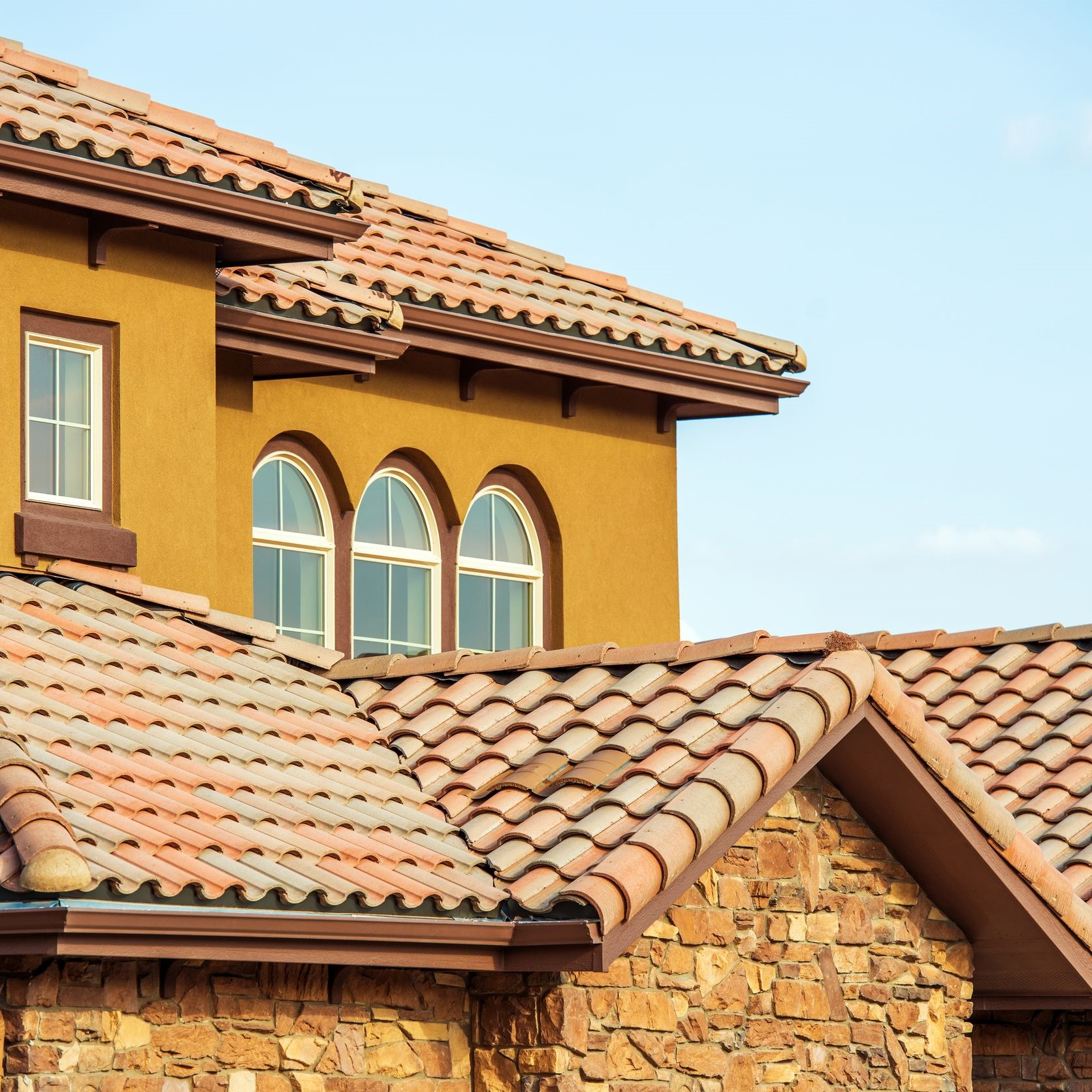 A home with a tile roof.