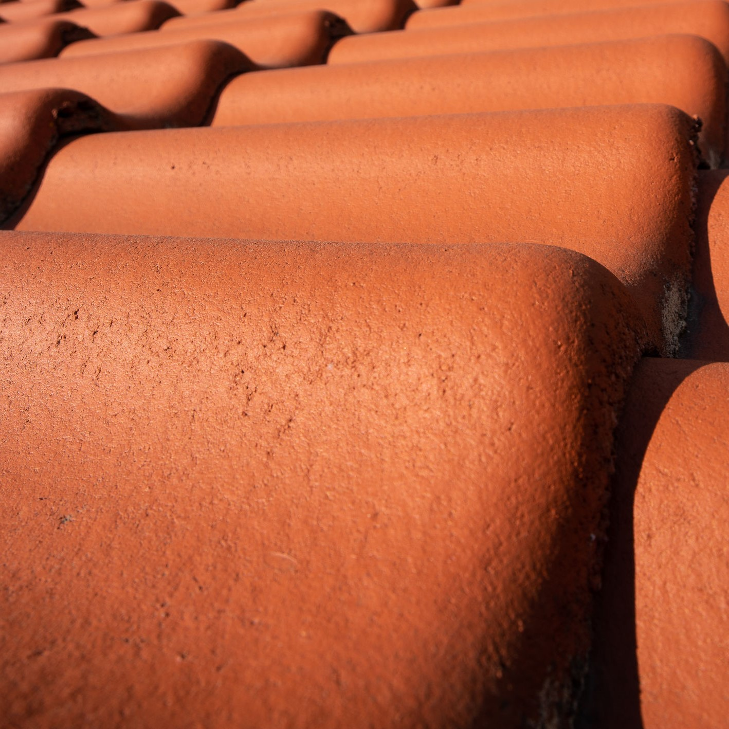 A close up picture of clay roofing tiles.