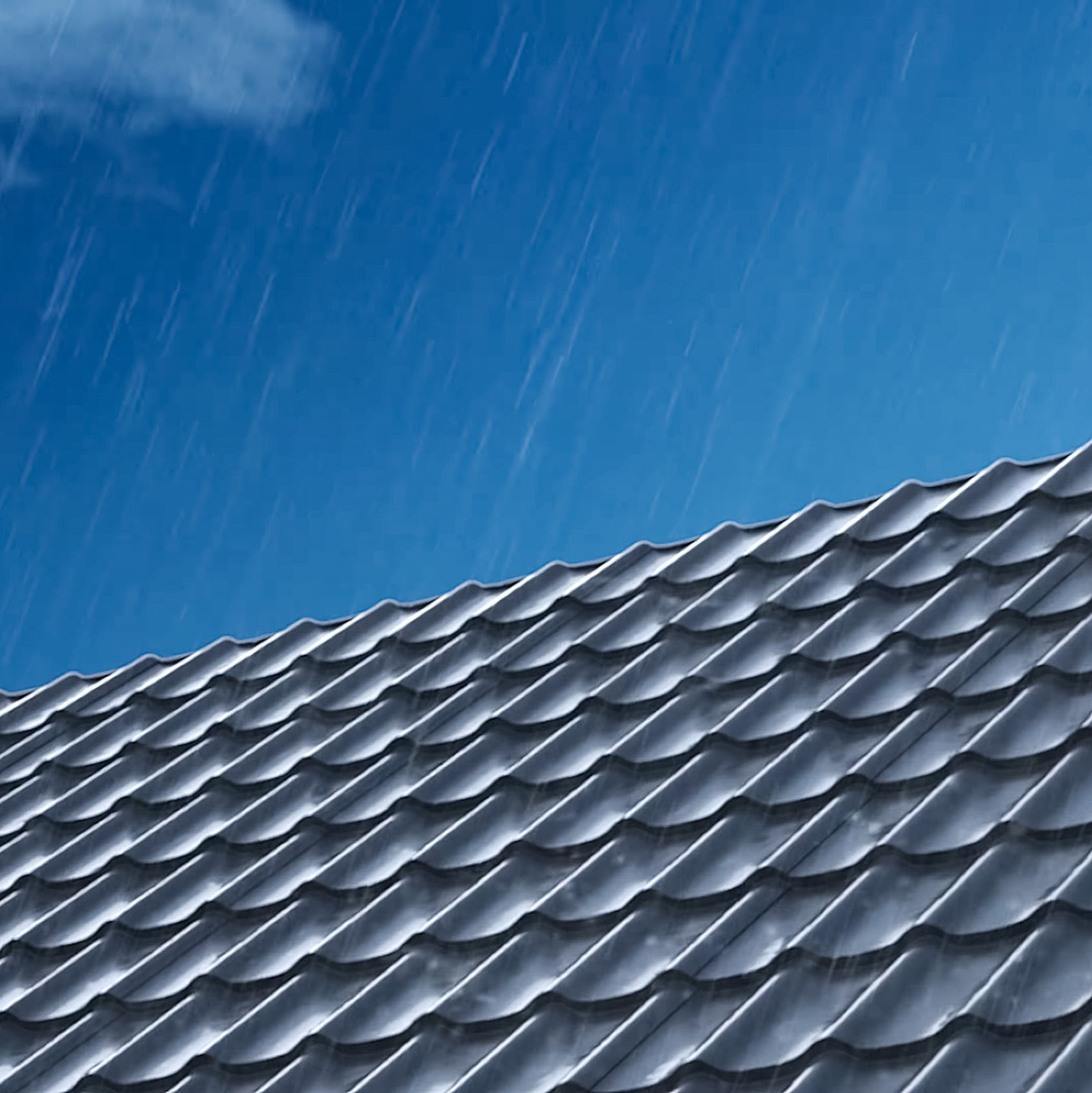 A metal roof on a rainy day.