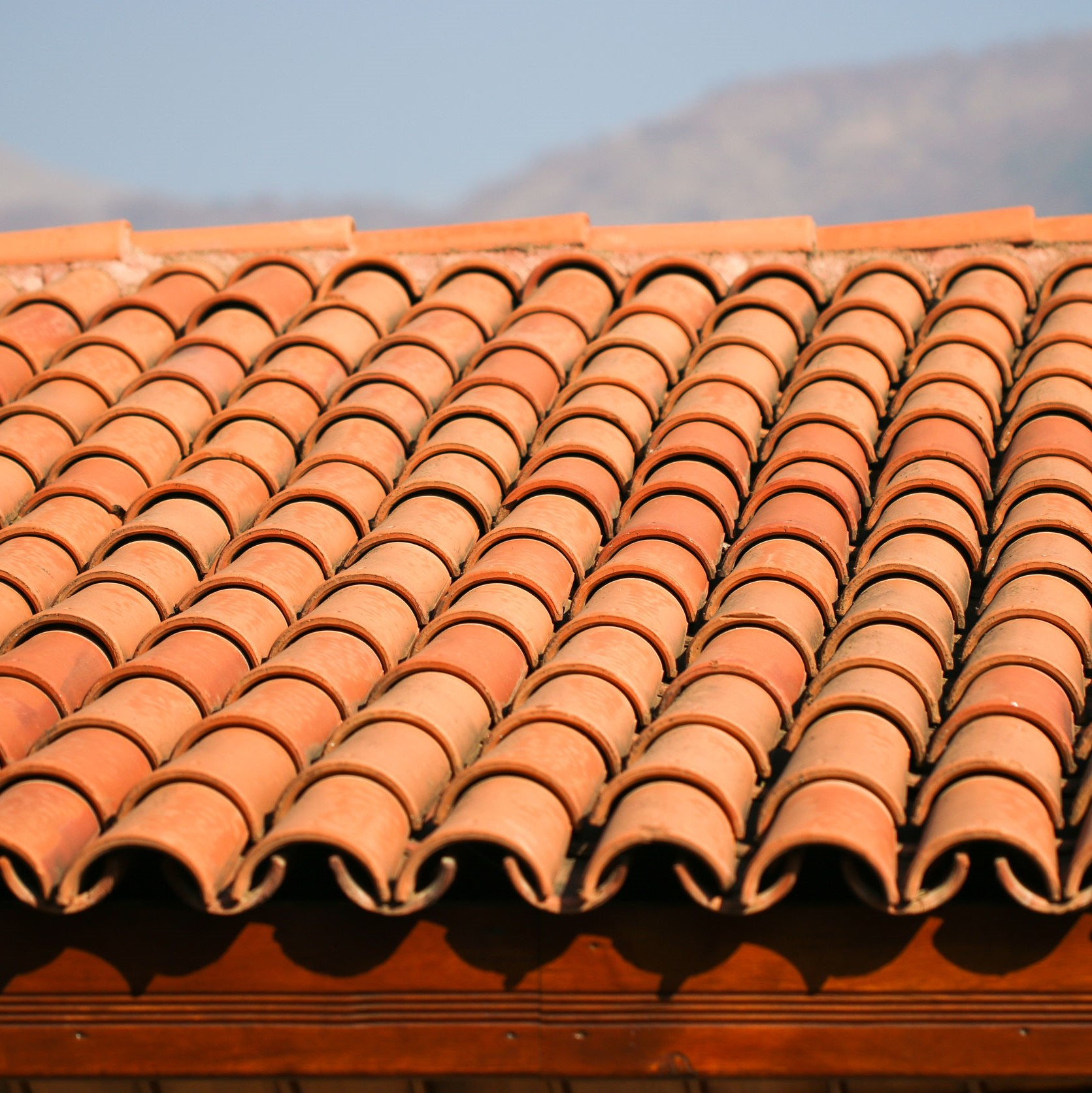 A roof that is comprised of Spanish tiles.