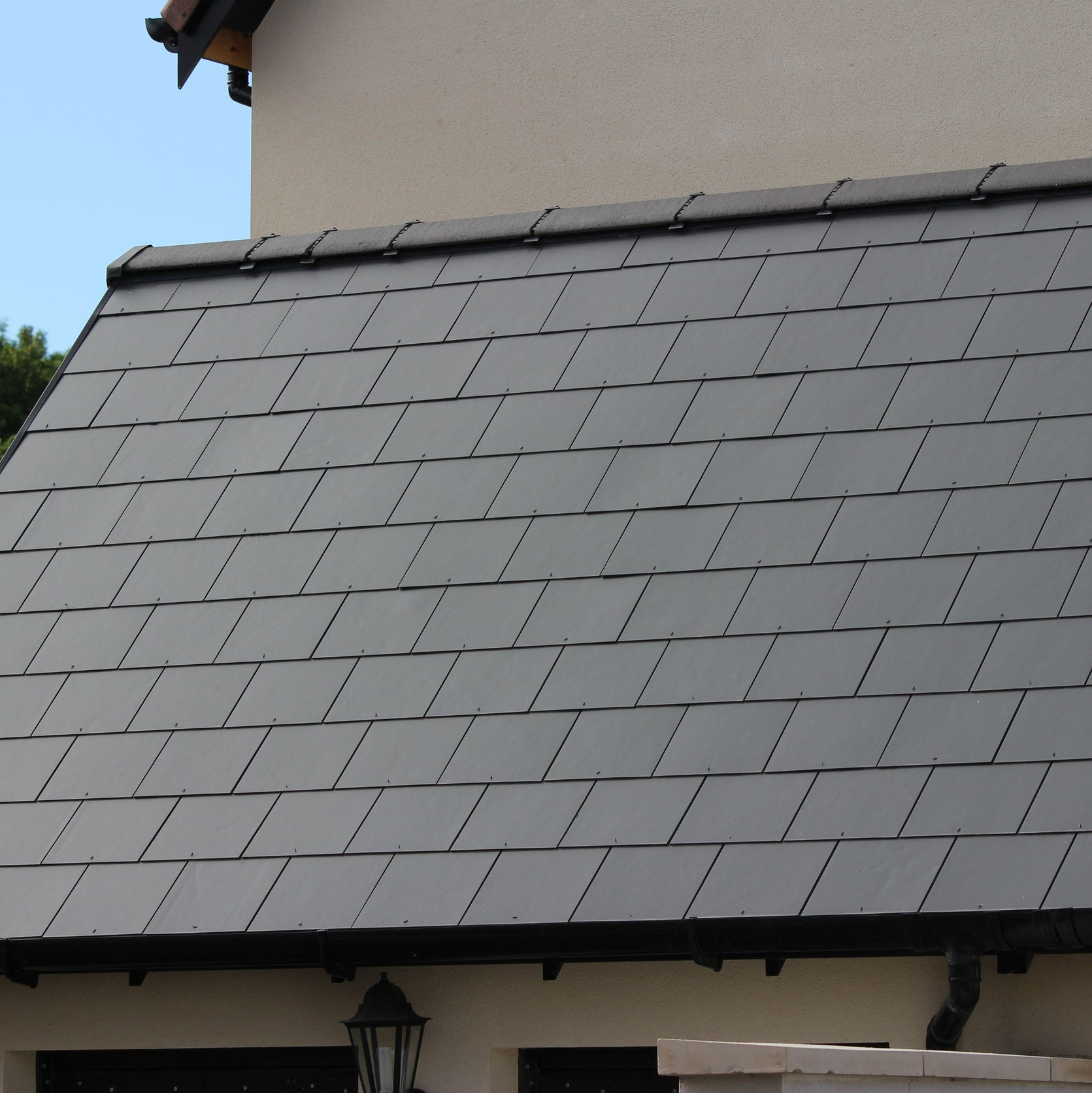 A synthetic slate roof.