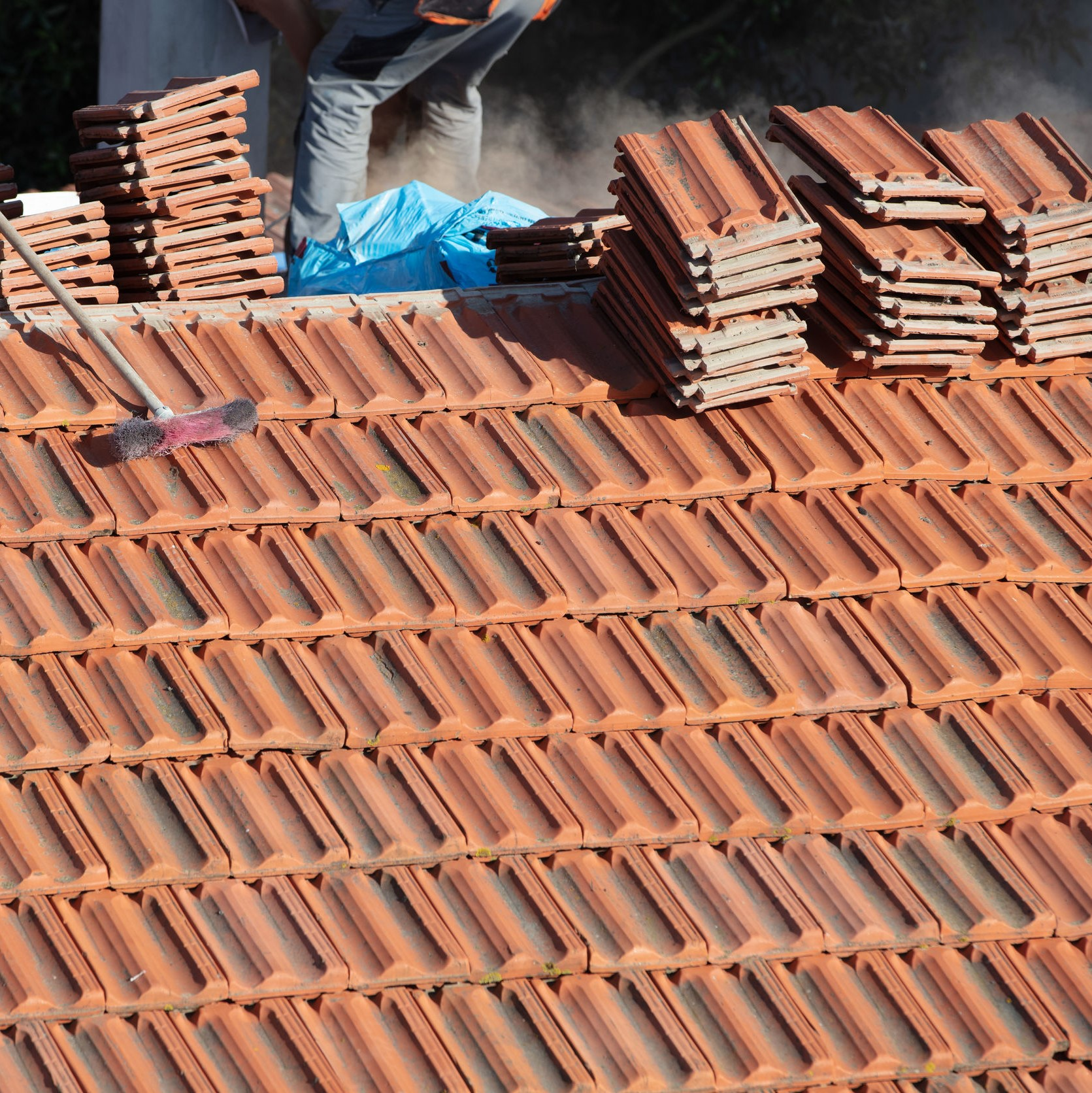 A tile roof being installed.