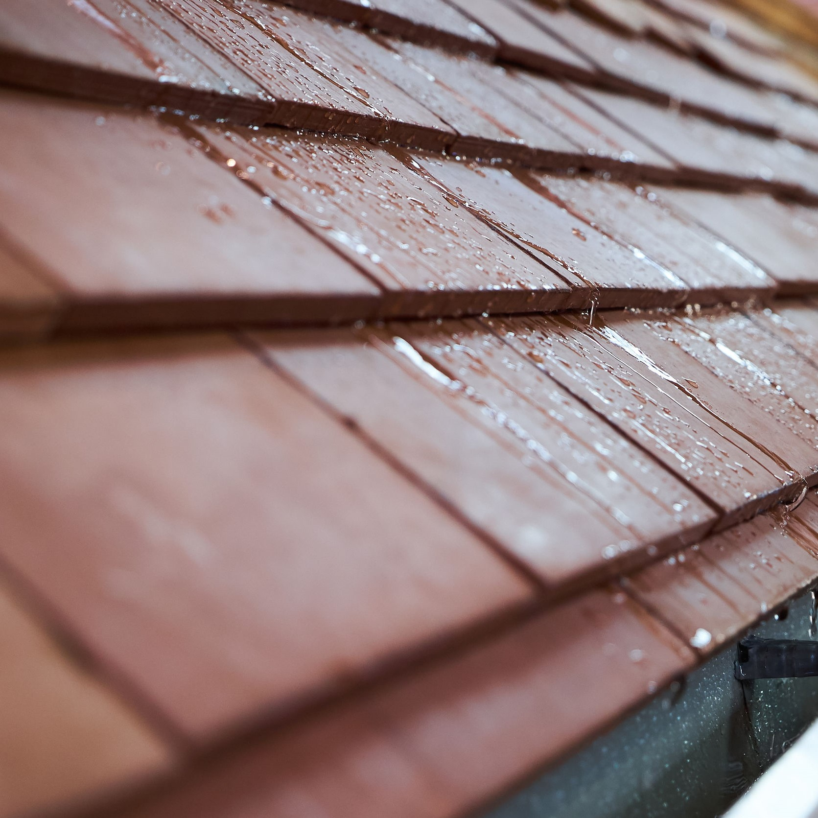 An up close view of a tile roof.